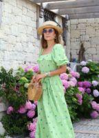 yesil-kolu-lastikli-mini-floral-elbise