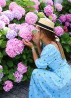 mavi-kolu-lastikli-mini-floral-elbise